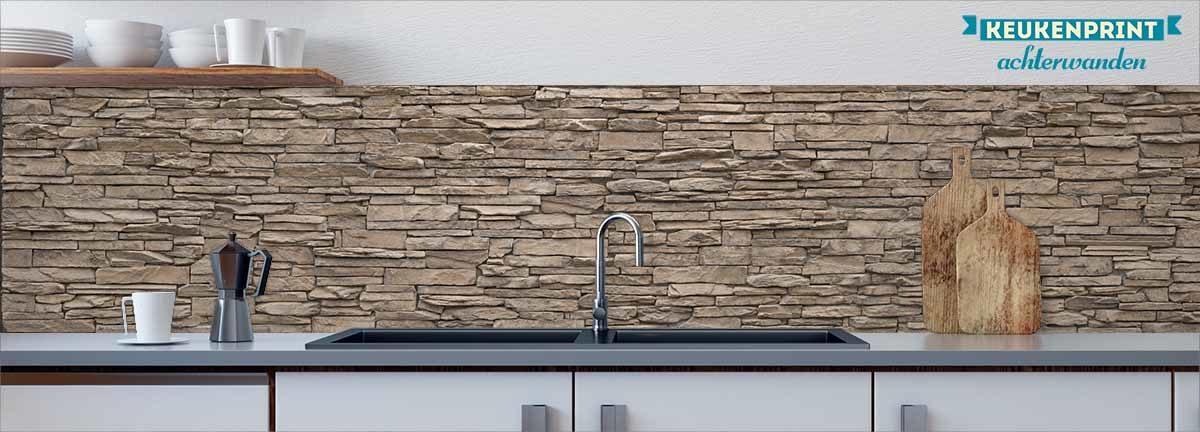 beige-stone-wall-keukenprint