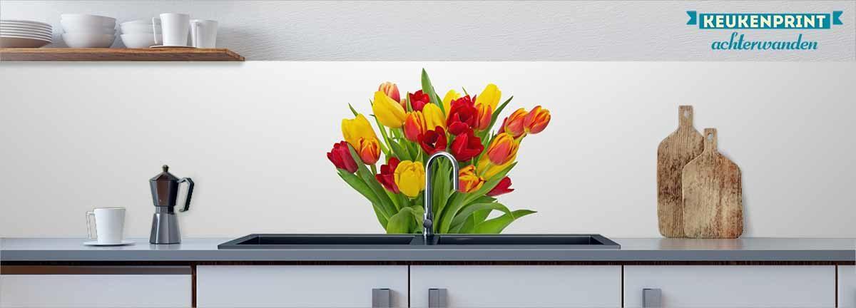 gele_en_rode tulpen_Keukenprint